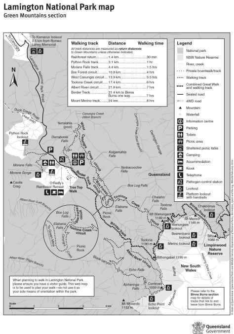 Lamington National Park: Green Moutains section map