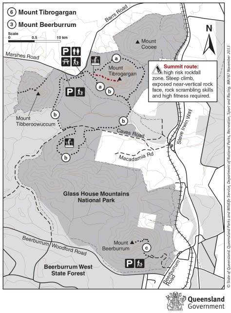 Glass House Mountains walking track information and maps
