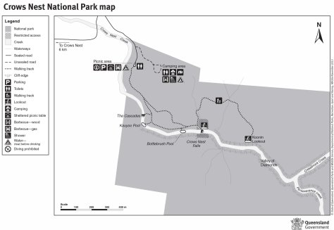 Crows Nest National Park map